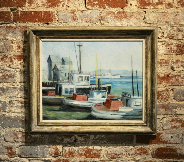 John Earle Coolidge Boats at the LA Harbor 1935 Oil painting
