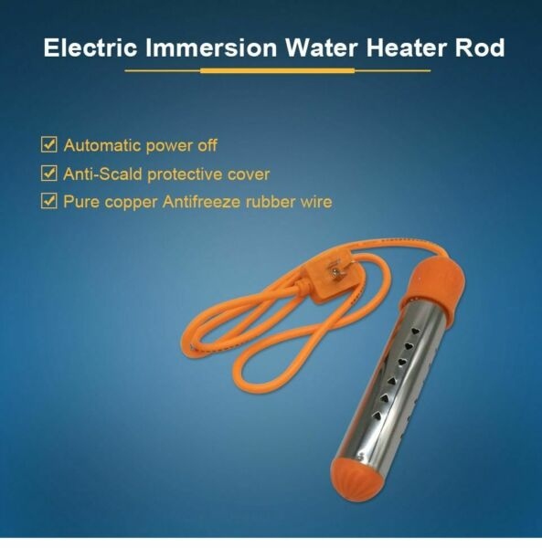 Portable Fast Electric Immersion Water Heating Heater Stainless Automatic Power
