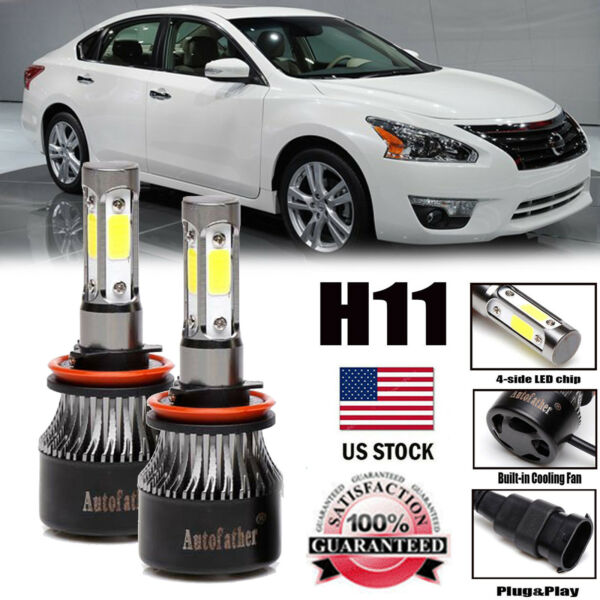 For Nissan Altima 4 Side LED KIT H11 H8 H9 Headlight Bulbs 600W 60000lm 6000K
