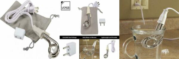 Lewis N. Clark Portable Travel Immersion Water Heater 120 240V White $16.98