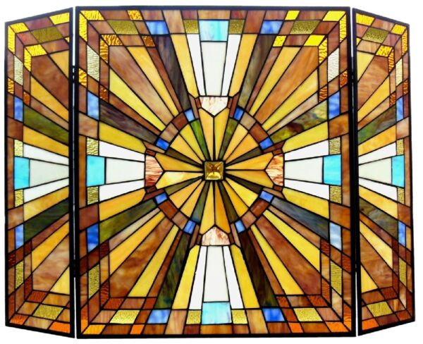 38quot; mission Tiffany Style Stained Glass Fireplace Screen 3PC Folding