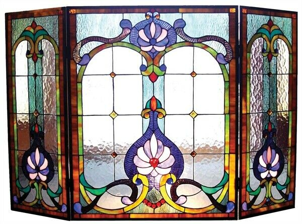 44quot; W Royal Victorian Style Stained Glass 3 PC Fireplace Screen Decor