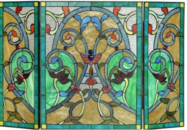 44quot; Victorian Vint Tiffany Style Stained Glass Fireplace Screen 3pc Folding Deco