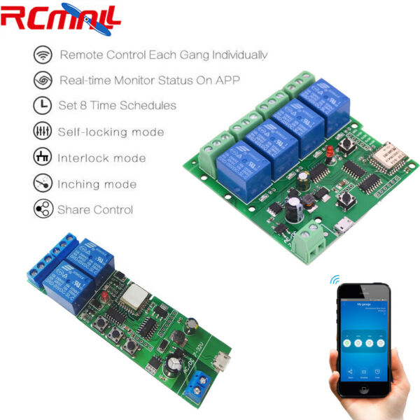 2 4 Channel WiFi Relay Module Smart Home APP Remote Control Switch DC 7-32V