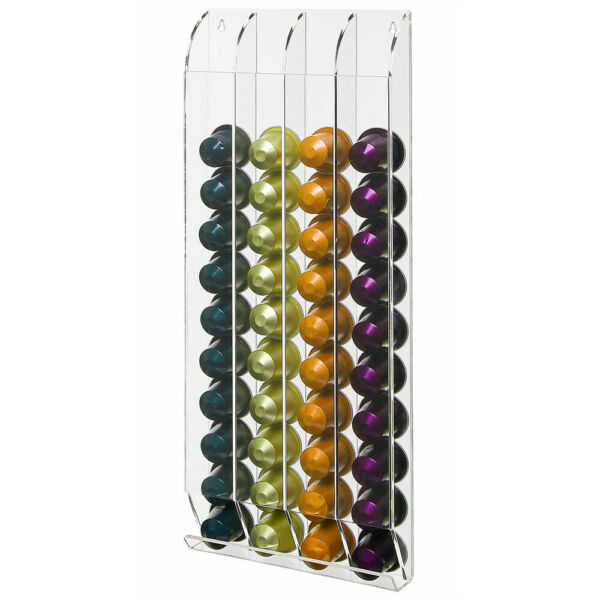 NEW ACRYLIC WALL MOUNTED NESPRESSO CAPSULE ORGANIZER HOLDS 32 KCUP COFFEE PODS