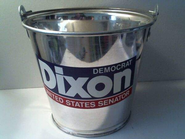 VTG METAL PAIL DEMOCRAT ALAN DIXON UNITED STATES SENATOR CAMPAIGN ADVERTISEMENT
