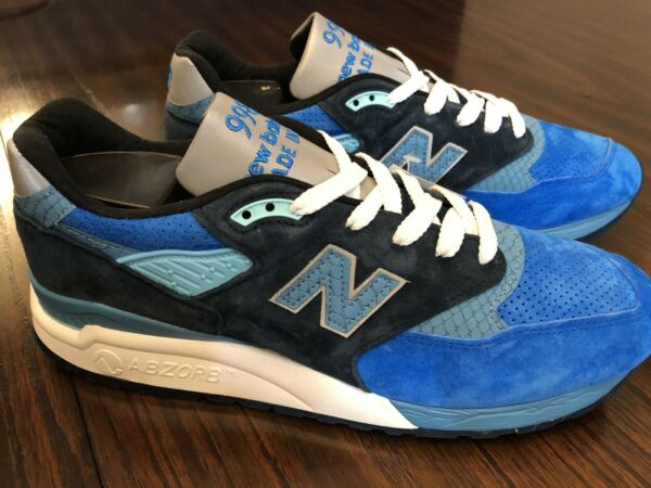 New Balance 998 MADE IN USA Blue Navy White Silver Fish M998NE Men's Size 11