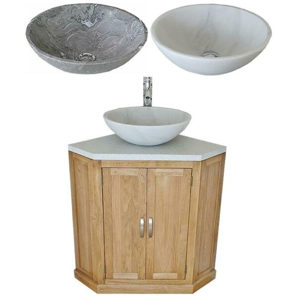 Bathroom Vanity Unit Free Standing Oak Corner Cabinet White Quartz Marble Basin