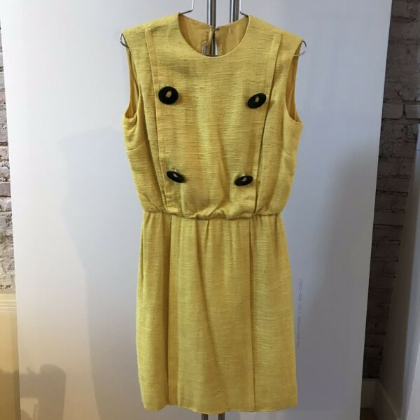 Vintage 60#x27;s Yellow Burlap Dress Sleeveless Shift As Found Best and Co 4