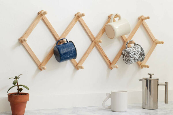 Expanding Wall Rack Storage Wood Hanging Hooks Coffee Mug Cup Holder Hats Coats $21.46