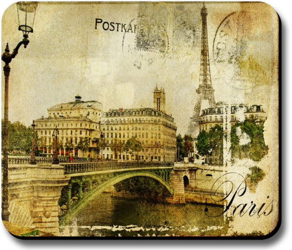 Mouse Pad Art Print Vintage Postcard Paris Eiffel Tower 18in or 14in Thick