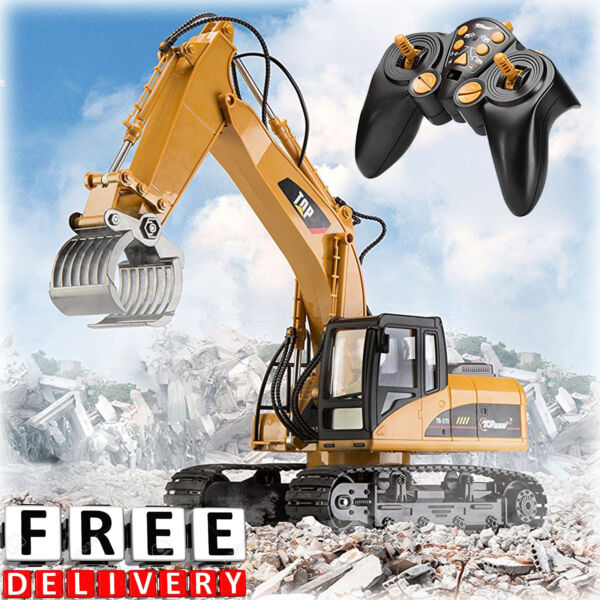 RC Excavator Tractor Toy 15 Channel Remote Control Metal Digger Construction New