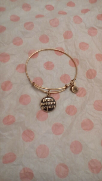 Alex & Ani Honor Integrity Loyalty Black Epoxy Gold Charm Bangle Bracelet Rare