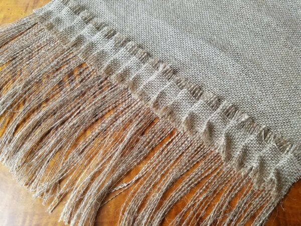 Natural Burlap Table Runner with 6quot; Fringed Edges and 2quot; Pleated Burlap Trim