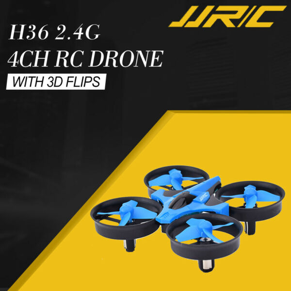 JJRC H36 2.4G 4CH 6-Axis 3D Flips Mini Drone With Headless 3 Batteries Blue