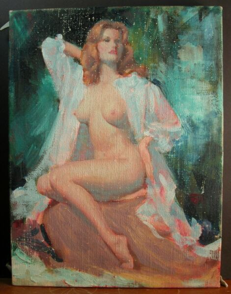 Illustrator Earl Moran Pinup Original Preliminary Oil Canvas 1960's Nude Beauty