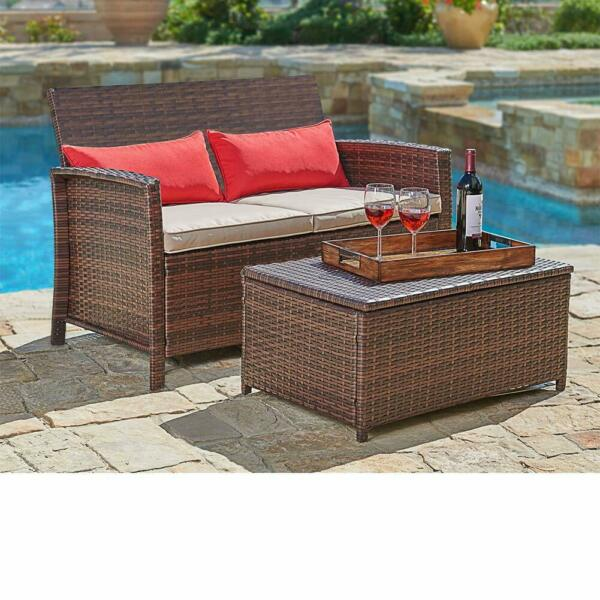 SUNCROWN Outdoor Furniture Wicker Love-seat with Coffee Table (2-Piece Set)