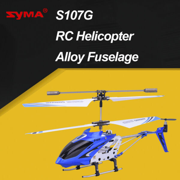 Syma S107G 3CH RC Helicopter Alloy Fuselage Drone with Gyroscope Lights Blue
