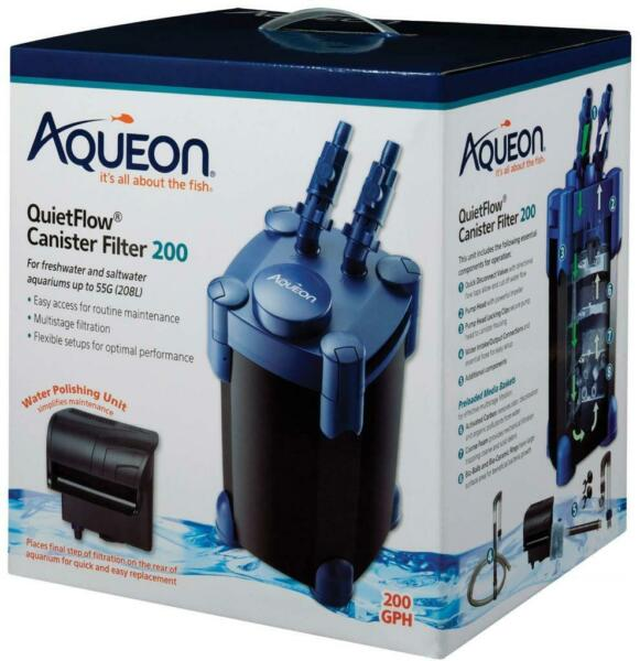 Aqueon QuietFlow Canister Filter 200 GPH For Up to 55 Gallons