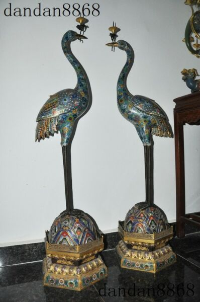 Huge Palace Noble Chinese purple copper Cloisonne Gilt Cranes Candlestick Holder