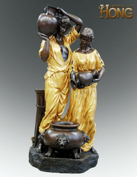 Art Deco Sculpture Couple Man and Woman With Kettle Fountain Bronze Statue