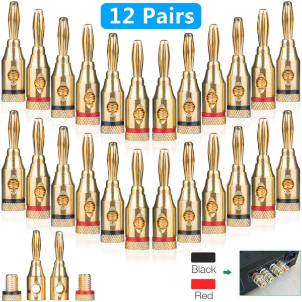 24-pack Gold 24K Male Banana Plugs Audio Jack Speaker Wire Cable Screw Connector