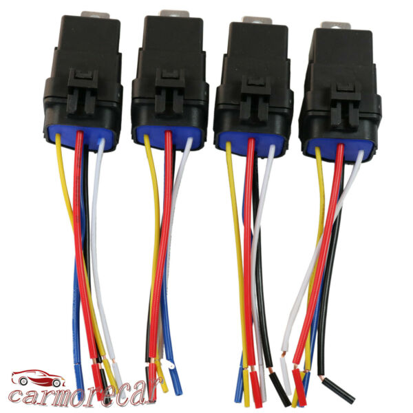 4 pack 5 pin amp; wire Heavy Duty Car Auto Relay 12V 40 amp Waterproof Plug Socket