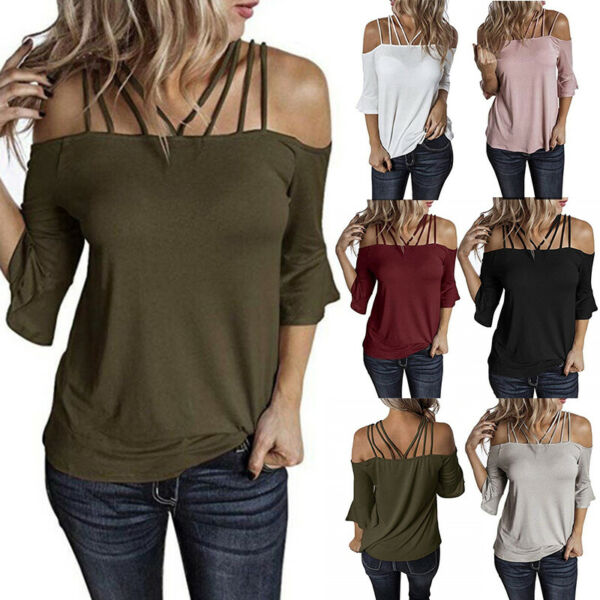 Womens Summer Off Shoulder Sexy T Shirt Flare Sleeve Plus Size Solid Tops Blouse