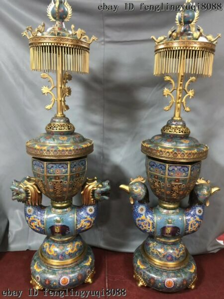 Bronze Cloisonne Phoenix Dragon Lamp Palace Lantern Incense Burner Censer Pair