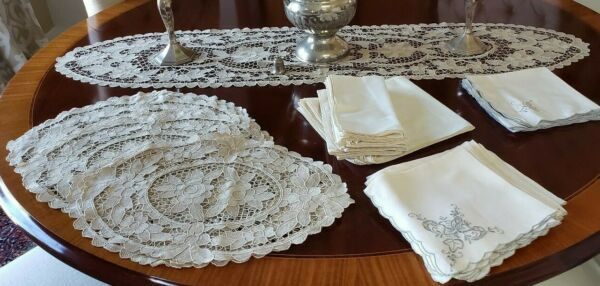 Vintage Belgian Lace Set of 12 Matching Placemats-Table Runner and Linen Napkins