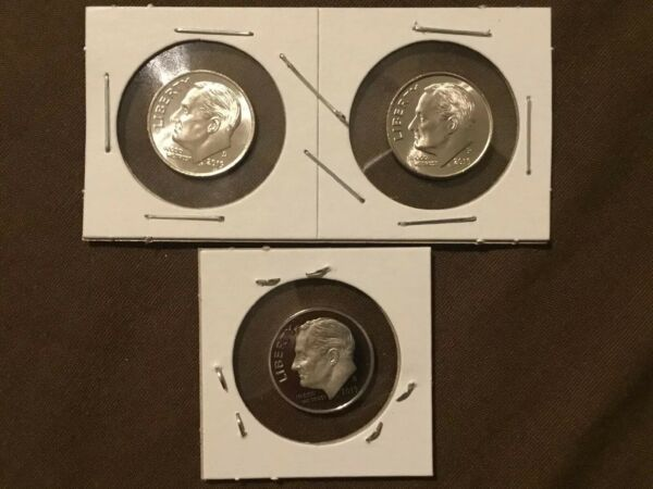 2019 P+D+S Roosevelt Dime  Proof Set ~ PD from Bank Rolls. Read B4 Purchase !