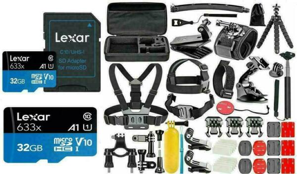 Garmin Virb 360 Ultra Cam Deluxe Accessories Action Kit High Speed 32GB Micro SD