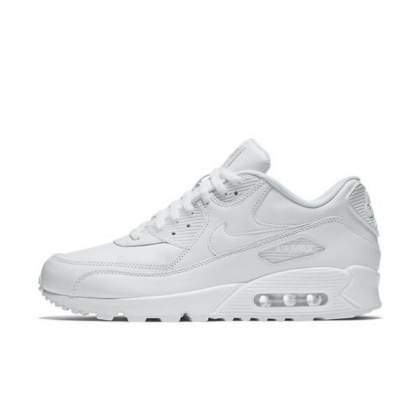 NIKE AIR MAX 90 LEATHER MENS 302519-113 ALL WHITE RETRO NEW ALL SIZES SHIP NOW