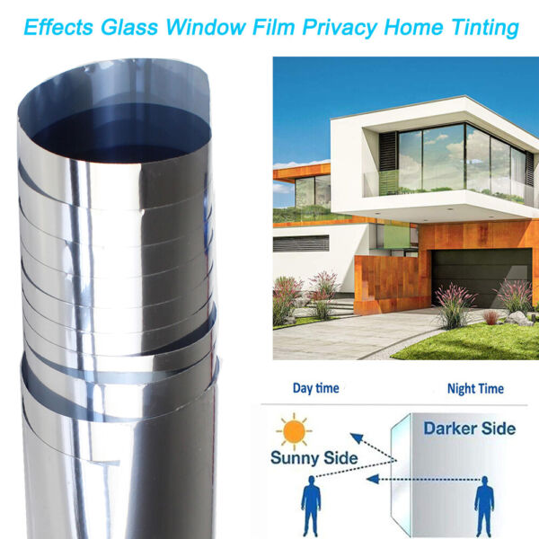 Home Tint Window Film Privacy One Way Mirror Solar UV Reflective Static Cling