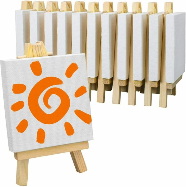 Mini Stretched Canvas & Easel Set-12 PackSmall White Canvas Panel & Wood Easels