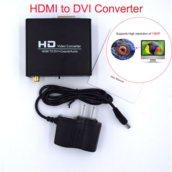 HDMI to DVI Video Adapter Converter Box HD 1080p Composite Coaxial Audio Out Y