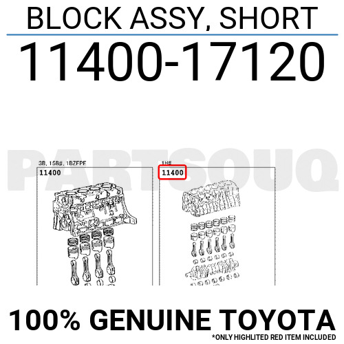 1140017120 Genuine Toyota BLOCK ASSY SHORT 11400-17120
