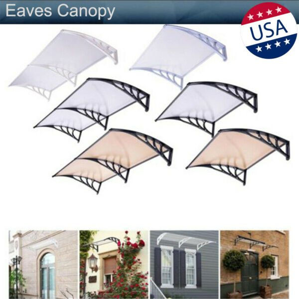 Door Window Rain Cover Eaves Canopy Awning Garden Sun Shade Yard Mini Shelter US