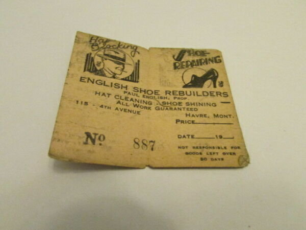 VINTAGE CLAIM CHECK FOR SHOE AND HAT BLOCKING