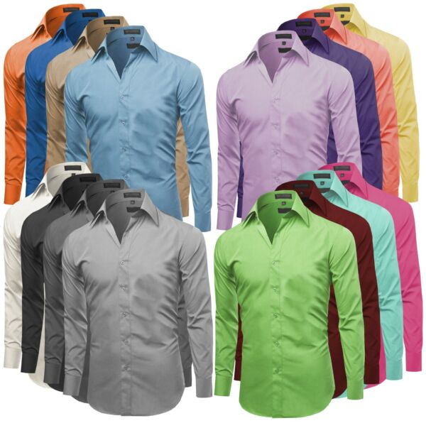 Omega Italy Men's Premium Slim Fit Button Up Long Sleeve Solid Color Dress Shirt