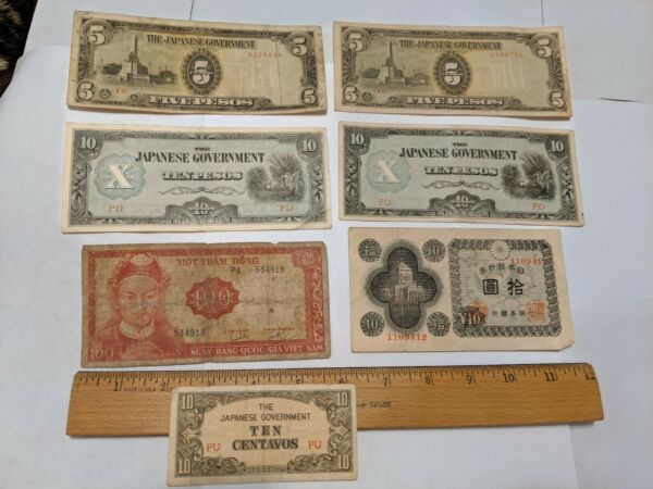 7 LOT OLD CURRENCY BANK NOTES 5 JAPAN JAPANESE 1 VIETNAM