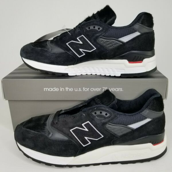 New Balance 998 Made in USA Suede Running Shoes Mens Size Black Pony Hair