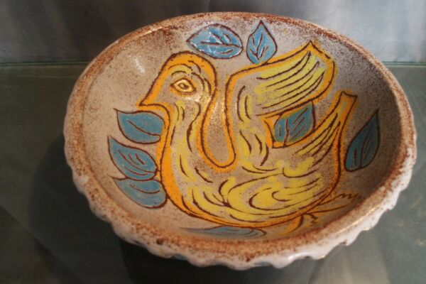 Large Cup Dish Tripod to the Bird Ceramic Signed Accolay