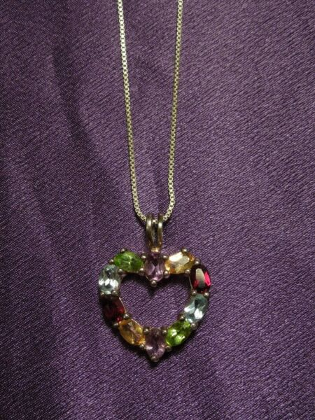 Multi Color Gemstone Hearth Shaped Sterling Silver Pendant &  Necklace