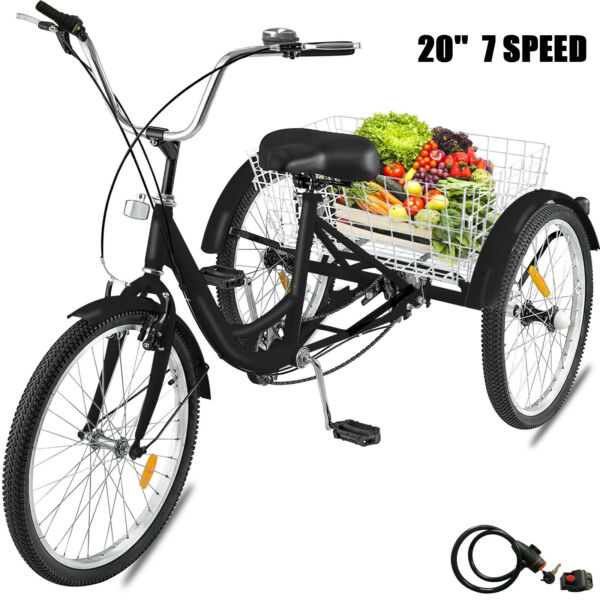 20quot; Adult Tricycle 3 Wheel 7 Speed Bicycle Trike Cruiser w Lock Basket $199.46