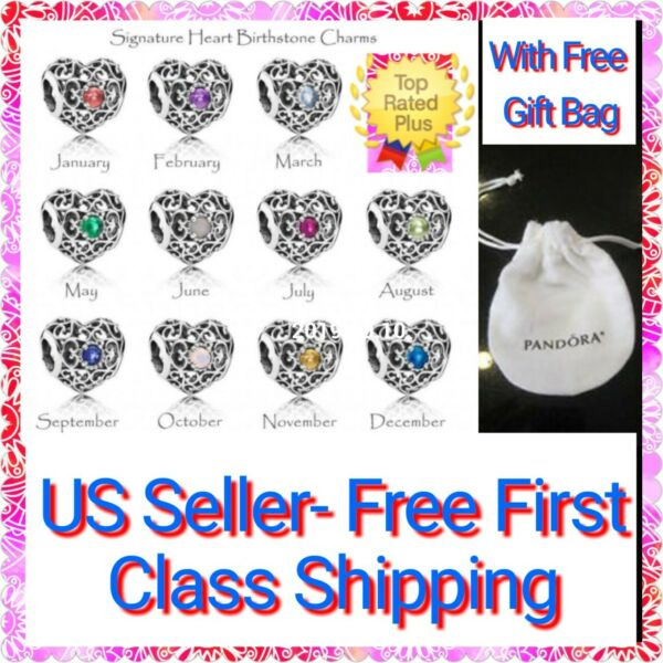 Authentic Pandora SIGNATURE HEART Birthstone Charm S925 ALE with Pandora Pouch