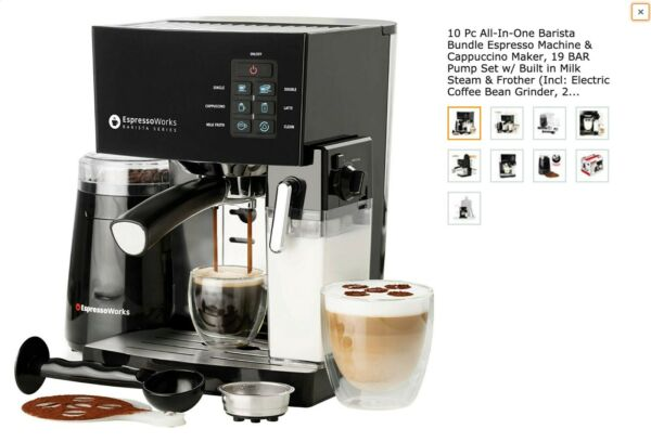 Coffee Maker With Built In Milk Steam amp; Frother Grinder for Easy Quick Use NEW