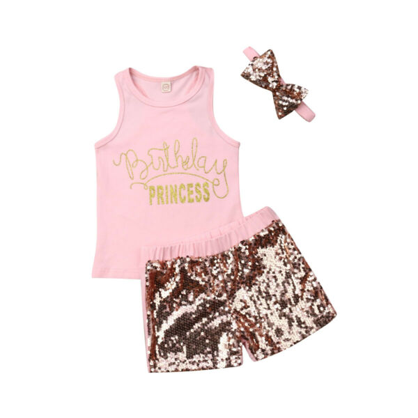 USA 3PCS Toddler Kid Baby Girl Clothes Vest Crop Tops+Sequin Pants Summer Outfit