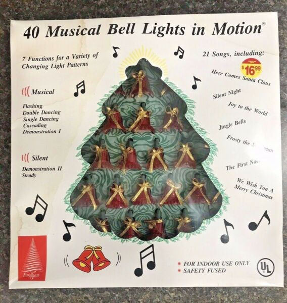 Vintage 40 Musical Bell Lights In Motion 21 Songs 7 Functions Changing Patterns $39.99