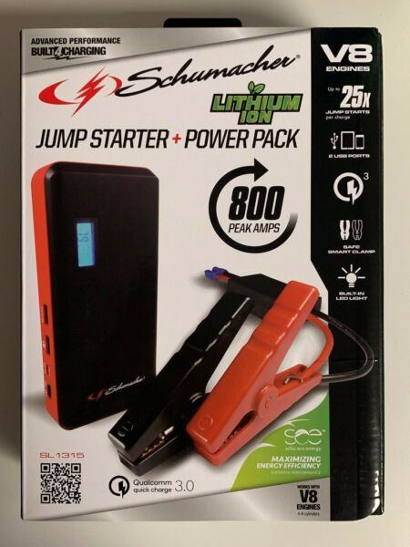 Schumacher Vehicle Car Jump Starter + Power Pack 800 Amps USB Charger SL1315 New